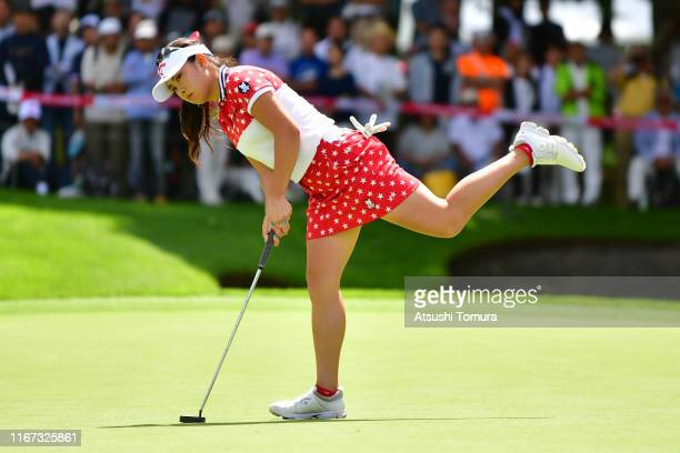 Yui Kawamoto of Japan reacts after missing the eagle putt on the 9th green during the final round of the Hokkaido meiji Cup at Sapporo International...