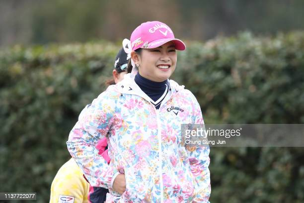 Yui Kawamoto of Japan smiles on the 2nd hole during the second round of the TPoint x ENEOS Golf Tournament at Ibaraki Kokusai Golf Club on March 23...