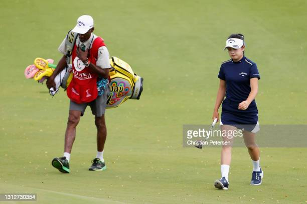 Yui Kawamoto of Japan walks up to the 11th green during the second round of the LPGA LOTTE Championship at Kapolei Golf Club on April 15, 2021 in...