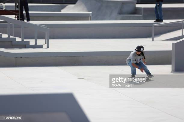 Yui Matsuda performs her routine during the READY STEADY TOKYO Skateboarding Test Event at Ariake Urban Sports Park in course of the preparations for...