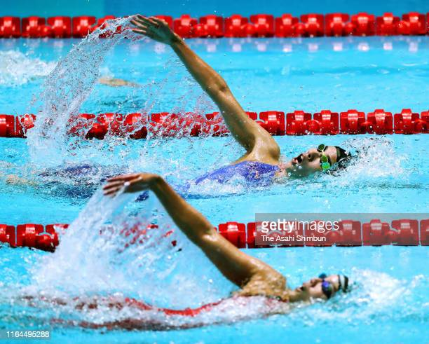Yui Ohashi and Rika Omoto of Japan compete in the Women's 200m Individual Medley Semi Final during day one of the Gwangju 2019 FINA World...