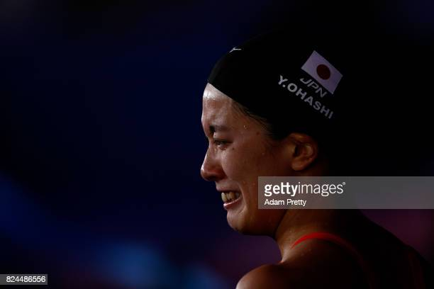 Yui Ohashi of Japan reacts following the Women's 400m Individual Medley on day seventeen of the Budapest 2017 FINA World Championships on July 30...