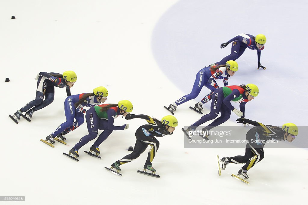 Yui Sakai and Hitomi Saito of Japan, Elena Viviani and Cecilia Maffei of Italy, Emina Malagich and Ekaterina Eferemenkova of Russia and Kim A-Lang and Choi Min-Jeong of South Korea compete in the Ladies 3000m Relay semifinals during the ISU World Short Track Speed Skating Championships 2016 at Mokdong Icerink on March 12, 2016 in Seoul, South Korea.