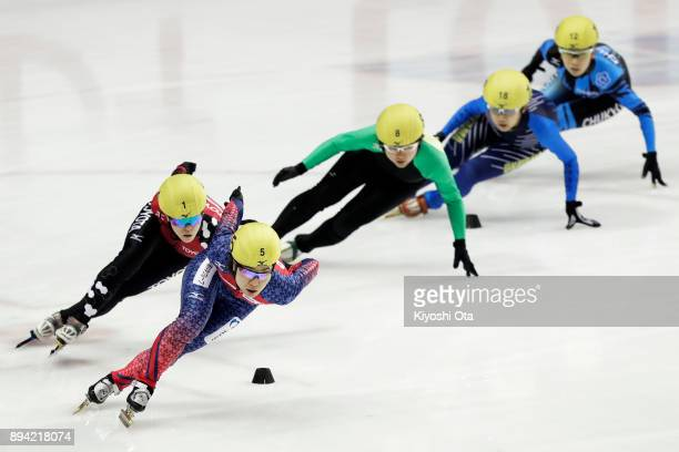 Yui Sakai leads the pack in the Ladies' 1000m Quarterfinal during day two of the 40th All Japan Short Track Speed Skating Championships at Nippon...