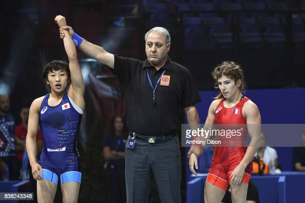 Yui Susaki and Julie Sabatie during the female wrestling 48kg competition during the Paris 2017 Women's World Championships at AccorHotels Arena on...