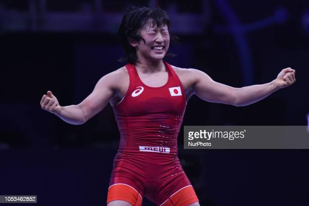 Yui SUSAKI of Japan celebrates after she wins against Mariya STADNIK of Azerbaijan, a Gold medal fight in women's freestyle wrestling 50kg category...