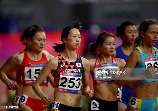 Yui Yabuta of Japan competes in the women's 300m steeple chase during day three of the 23rd Asian Athletics Championships at Khalifa International...