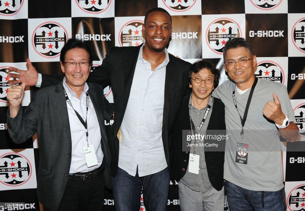 Yuichi Masuda, Paul Pierce, Kikuo Ibe and Shigenori Itoh attend G-Shock Shock The World 2013 at Basketball City on August 7, 2013 in New York City.