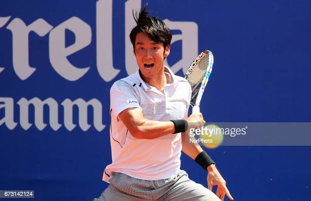 Yuichi Sugita during the match against Richard Gasquet corresponding to the Barcelona Open Banc Sabadell on April 25 2017
