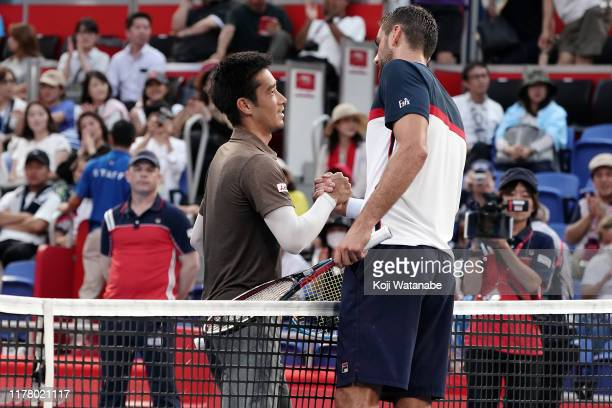 Yuichi Sugita of Japan and Marin Cilic of Croatia on day one of the Rakuten Open at the Ariake Coliseum on September 30 2019 in Tokyo Japan
