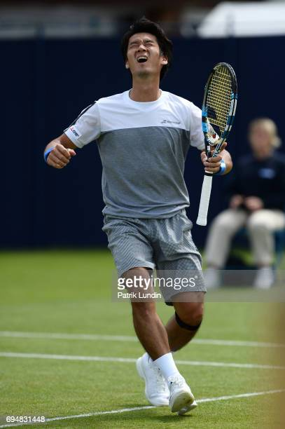 Yuichi Sugita of Japan celebrate after victory in the final match against Jordan Thompson of Australia during the Aegon Surbiton Trophy tennis event...