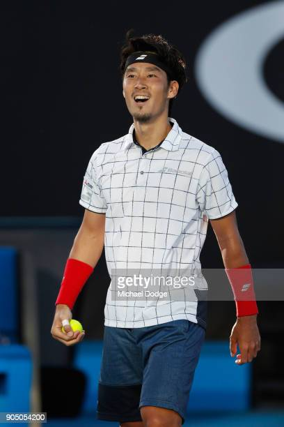 Yuichi Sugita of Japan celebrates after winning his first round match against Jack Sock of the United States on day one of the 2018 Australian Open...