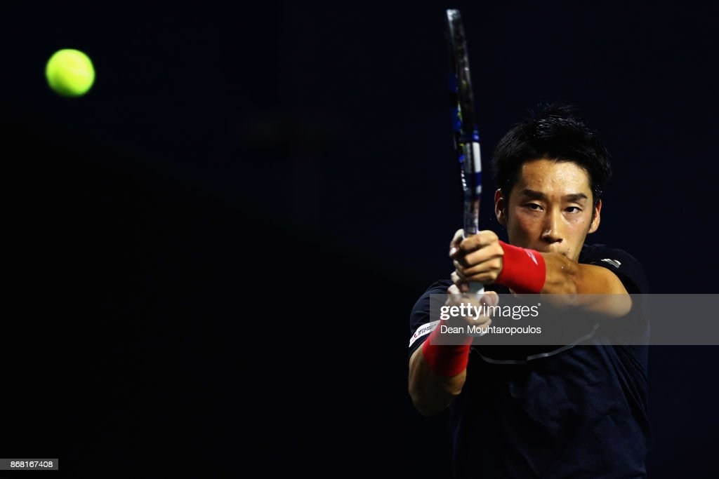 Yuichi Sugita of Japan competes against Filip Krajinovic of Serbia during Day 1 of the Rolex Paris Masters held at the AccorHotels Arena on October 30, 2017 in Paris, France.