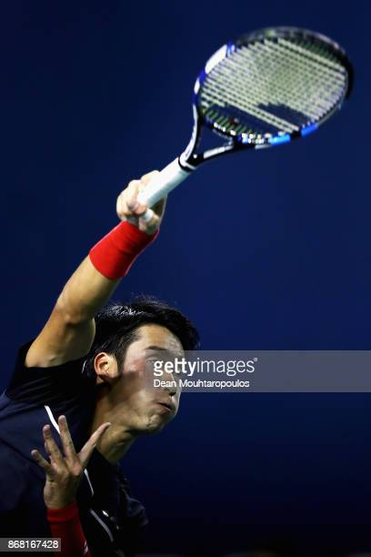 Yuichi Sugita of Japan competes against Filip Krajinovic of Serbia during Day 1 of the Rolex Paris Masters held at the AccorHotels Arena on October...