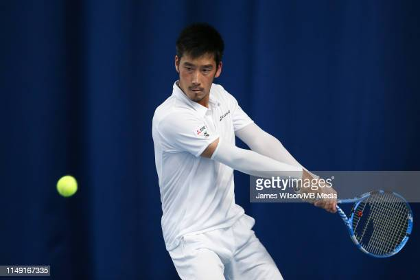 Yuichi Sugita of Japan in action against Ze Zhang of China during day two of the Nature Valley Open at Nottingham Tennis Centre on June 11 2019 in...