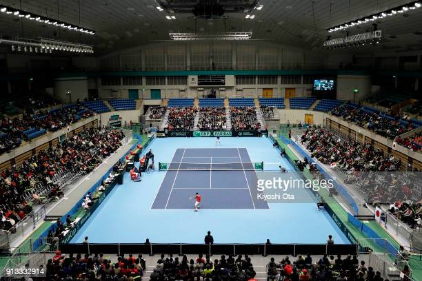 Yuichi Sugita of Japan in action in his singles match against Andreas Seppi of Italy during day one of the Davis Cup World Group first round between...