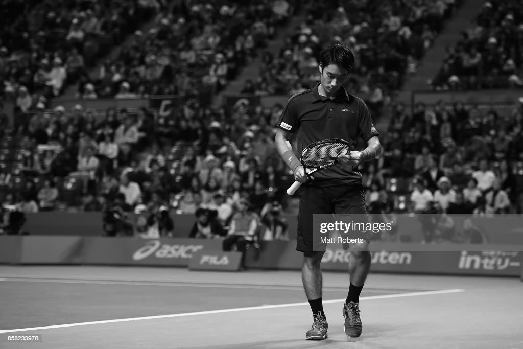 Yuichi Sugita of Japan looks dejected in his quarterfinal match against Adrian Mannarino of France during day five of the Rakuten Open at Ariake Coliseum on October 6, 2017 in Tokyo, Japan.