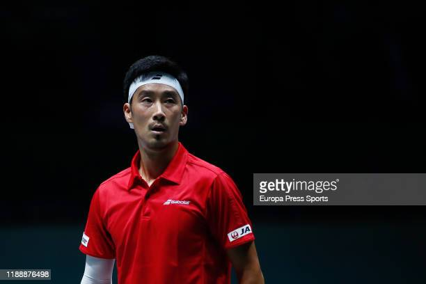 Yuichi Sugita of Japan looks on during his match played against Filip Krajinovic of Serbia Day 3 of the 2019 Davis Cup at La Caja Magica on November...
