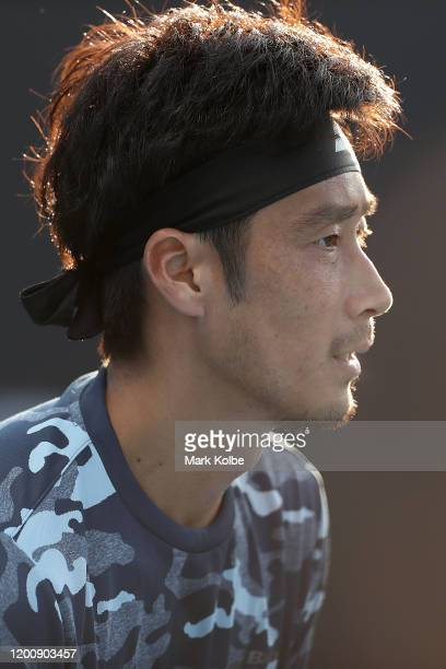 Yuichi Sugita of Japan looks on during his Men's Singles first round match against Elliot Benchetrit of France on day two of the 2020 Australian Open...