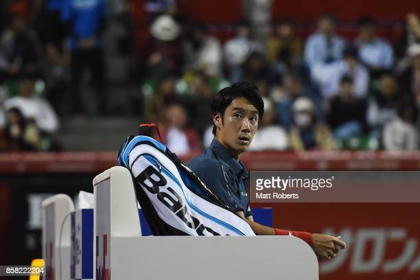 Yuichi Sugita of Japan looks on during his quarterfinal match against Adrian Mannarino of France on day five of the Rakuten Open at Ariake Coliseum...