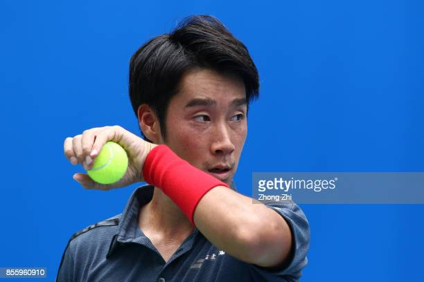 Yuichi Sugita of Japan looks on during the simi final match against Denis Istomin of Uzbekistan during Day 6 of 2017 ATP Chengdu Open at Sichuan...