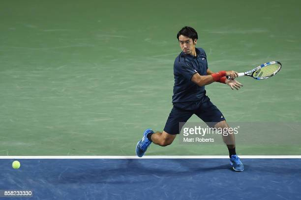 Yuichi Sugita of Japan plays a forehand in his quarterfinal match against Adrian Mannarino of France during day five of the Rakuten Open at Ariake...