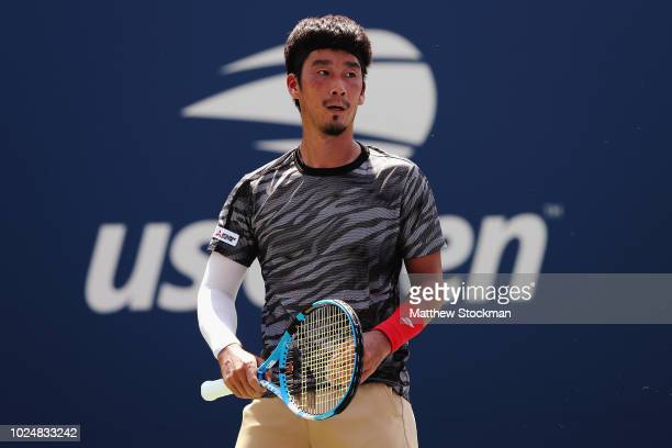 Yuichi Sugita of Japan reacts during his men's singles first round match against Richard Gasquet of France on Day Two of the 2018 US Open at the USTA...