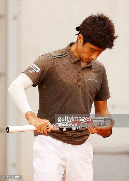Yuichi Sugita of Japan reacts during his Men's Singles first round match against Casper Ruud of Norway on day two of the 2020 French Open at Roland...