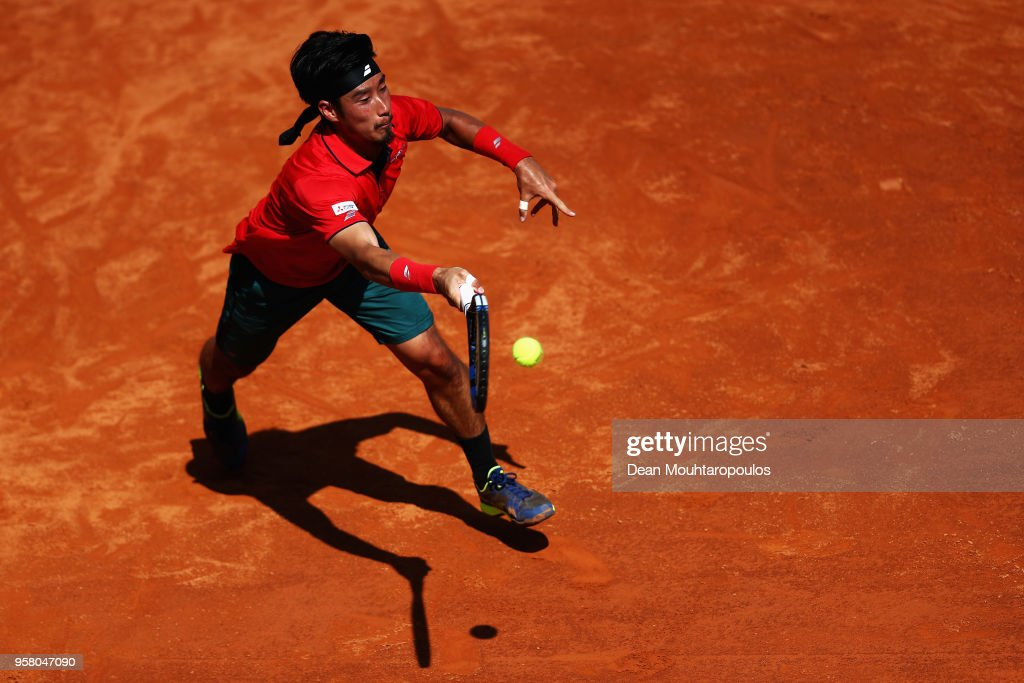 Yuichi Sugita of Japan returns a forehand in his match against Ryan Harrison of the USA during day one of the Internazionali BNL d'Italia 2018 tennis at Foro Italico on May 13, 2018 in Rome, Italy.