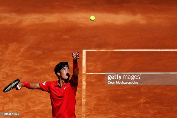 Yuichi Sugita of Japan serves in his match against Ryan Harrison of the USA during day one of the Internazionali BNL d'Italia 2018 tennis at Foro...
