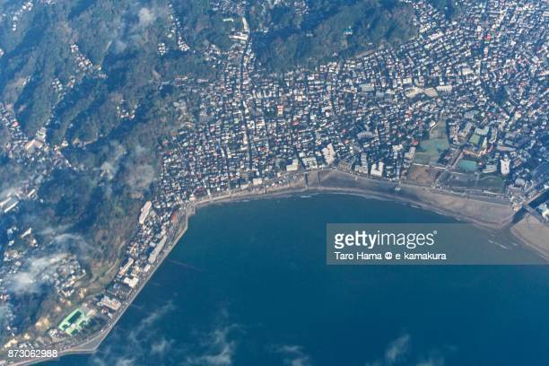 Yuigahama beach in Kamakura city in Kanagawa prefecture in Japan daytime aerial view from airplane