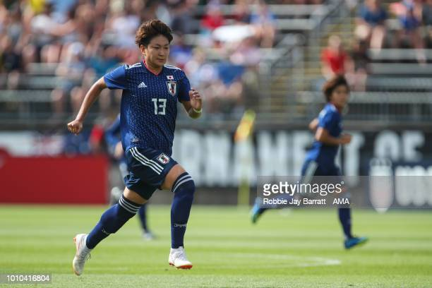 Yuika Sugasawa of Japan during the Tournament of Nations match between Japan and Brazil at Pratt Whitney Stadium on July 29 2018 in East Hartford...