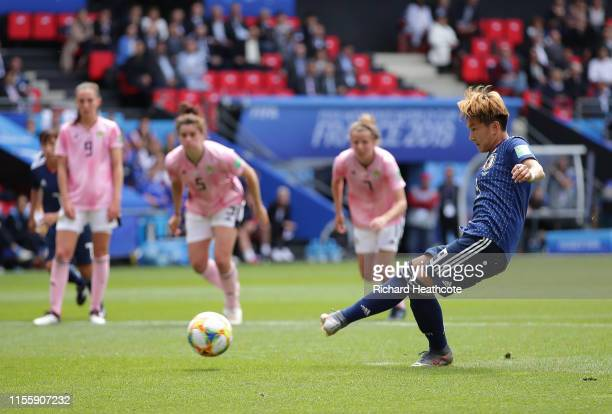 Yuika Sugasawa of Japan scores a penalty for her team's second goal during the 2019 FIFA Women's World Cup France group D match between Japan and...