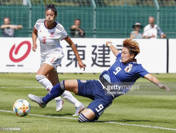 Yuika Sugasawa of Japan scores an equalizer during the second half of a 11 draw with Spain in a football friendly match in Le Touquet France on June...