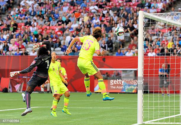 Yuika Sugasawa of Japan scores her team's second goal during the FIFA Women's World Cup 2015 Group C match between Japan and Cameroon at BC Place...