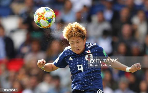 Yuika Sugasawa of Japan wins a header during the 2019 FIFA Women's World Cup France group D match between Argentina and Japan at Parc des Princes on...