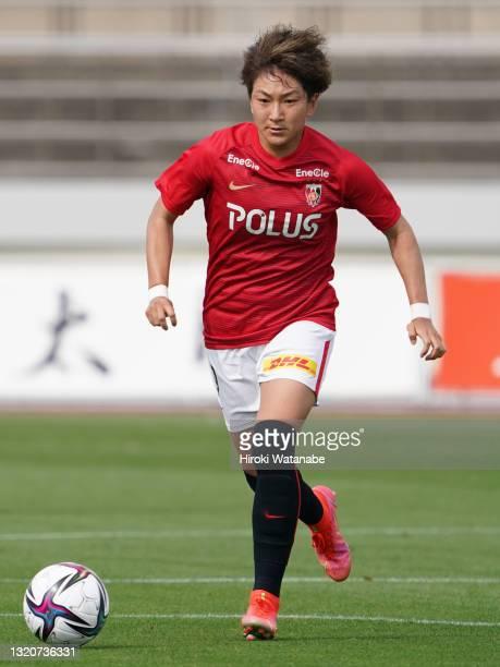 Yuika Sugasawa of MHI Urawa Reds Ladies in action during the WE League preseason match between MHI Urawa Reds Ladies and Sanfrecce Hiroshima Regina...