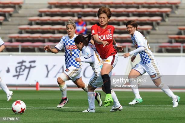 Yuika Sugasawa of Urawa Red Diamonds Ladies in action during the Nadeshiko League match between Urawa Red Diamonds Ladies and Mynavi Vegalta Sendai...