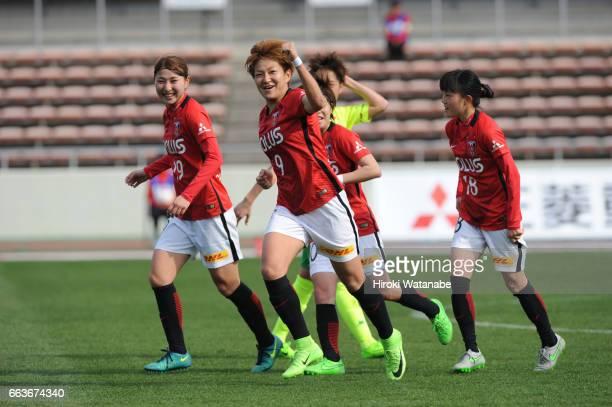 Yuika Sugasawa of Urawa Red Diamonds scoring her team's second goal during the Nadeshiko League match between Urawa Red Diamonds Ladies and JEF...