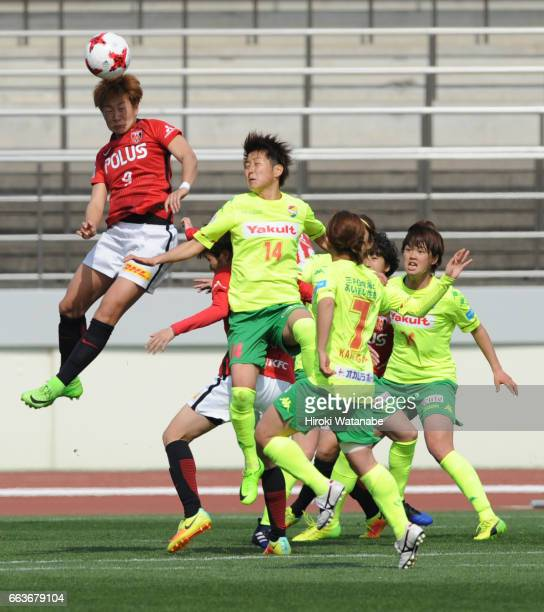 Yuika Sugawara of Urawa Red Diamonds Ladies and Midori Isokane of JEF United Chiba Ladies compete for the ball during the Nadeshiko League match...