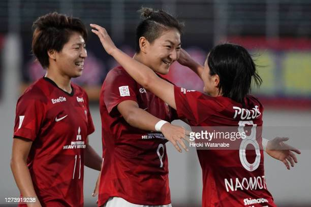 Yuika Sugawara of Urawa red Diamonds Ladies celebrates scoring her team's scond goal during the Nadeshiko League match between Urawa Red Diamonds...