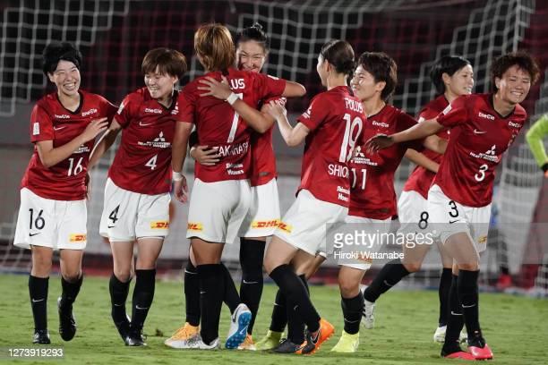 Yuika Sugawara of Urawa red Diamonds Ladies celebrates scoring her team's third goal during the Nadeshiko League match between Urawa Red Diamonds...