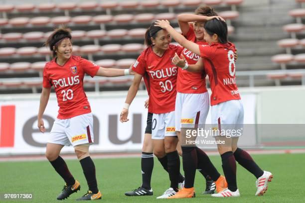 Yuika Sugawara of Urawa Red Diamonds Ladies celebrates scoring her team's first goal during the Nadeshiko Cup match between Urawa Red Diamonds Ladies...