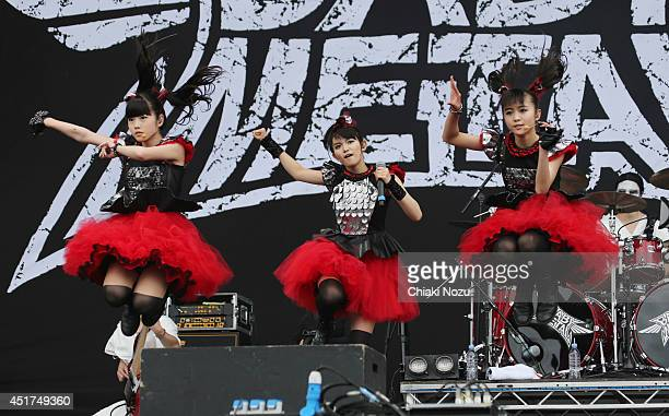 Yuimetal Sumetal and Moametal of Babymetal perform at Day 2 of the Sonisphere Festival at Knebworth Park on July 5 2014 in Knebworth England