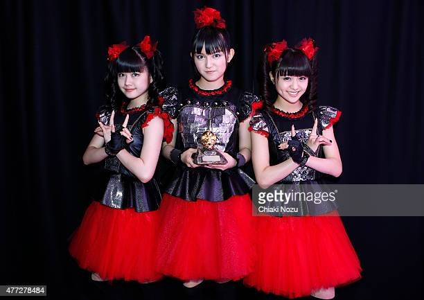 Yuimetal Sumetal and Moametal of Babymetal win Breakthrough Award at the Metal Hammer Golden Gods awards on June 15 2015 in London England