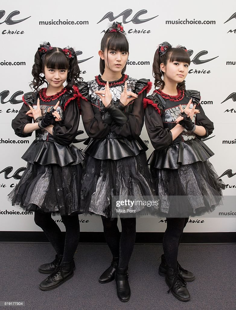 Yuimetal, Su-metal, and Moametal of the band Babymetal Visit Music Choice on April 4, 2016 in New York City.