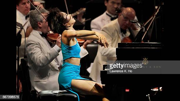 HOLLYWOOD CA JUL 17 2014 Yuja Wang in Prokofiev's Piano Concerto No 1 with EsaPekka Salonen conducting the LA Phil at the Hollywood Bowl in Hollywood...