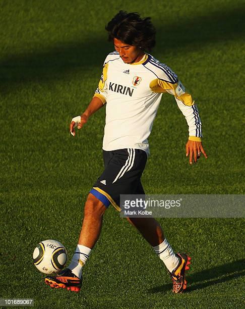 Yuji Nakazawa kicks during a Japan training session at Outeniqua Stadium on June 7, 2010 in George, South Africa.