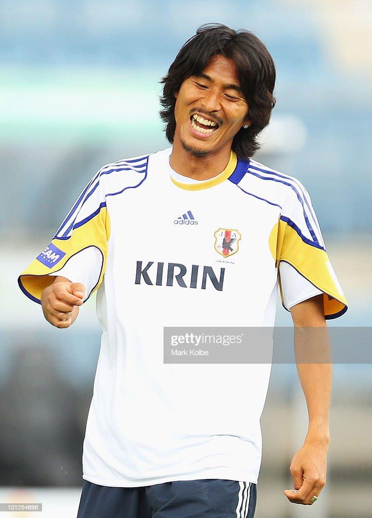 Yuji Nakazawa laughs during a Japan training session at UPC-Arena on May 29, 2010 in Graz, Austria.