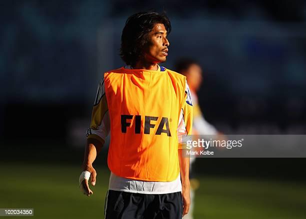 Yuji Nakazawa looks on during a Japan training session at Free State Stadium on June 13, 2010 in Bloemfontein, South Africa.
